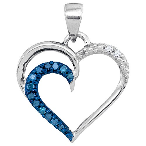 (Mediterranean Blue Diamonds 10k White Gold Heart Necklace Pendant 1/10 Ctw.)