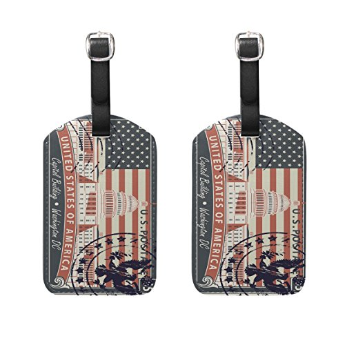 ALAZA USA Flag Luggage Tags PU Leather American Flag Bag Tag for Suitcase 2pcs ()