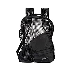 ROKA Pro Vent Zip Heavy Duty Black Mesh Swim Equipment Backpack for Men and Women