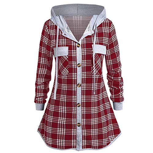 L'islam Et Halloween (Women's Casual Plus Size Long Sleeve Checked Button Hooded Pullover Sweatshirt T-Shirt Tops Blouses)