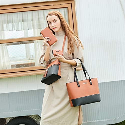 Women Fashion Handbags Wallet Tote Bag Shoulder Bag Top Handle Satchel Purse Set 4pcs
