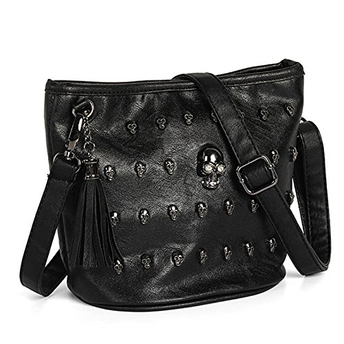 New Fashion Women Shoulder Bag Skull Face Studs Punk Rivet Lady Messenger (Croc Yellow Leather)