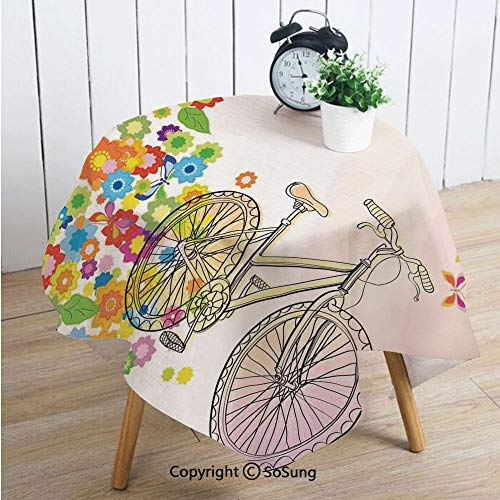 Bicycle Square Polyester Tablecloth,Hand Drawn Bicycle with Extending Flower Path Sixties Hippie Fashion Times Funky Pattern,Dining Room Kitchen Square Table Cover,42W X 42L inches,Multi