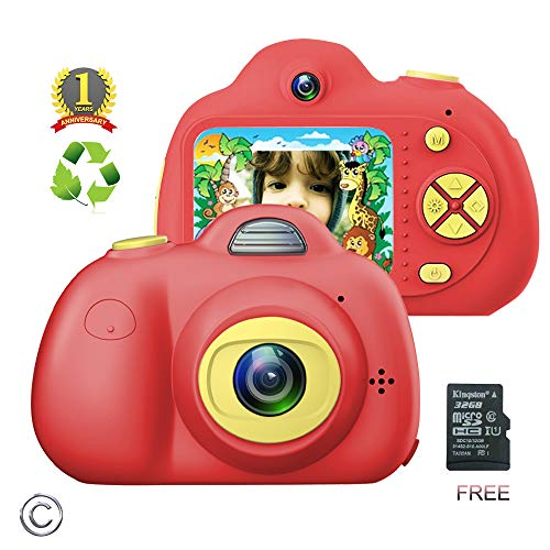 FEEYEA Kids Camera for Girls or Boys - Shockproof Kid Digital Camera with Soft Silicone Shell and HD Screen for Outdoor Play , Great Gift for 4-8 Year Old Girls (32G TF Card Included) (RED)
