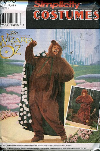 Simplicity Wizard of Oz Adult Costume Sewing Pattern ~ Cowardly Lion ~ (Cowardly Lion Costume Pattern)