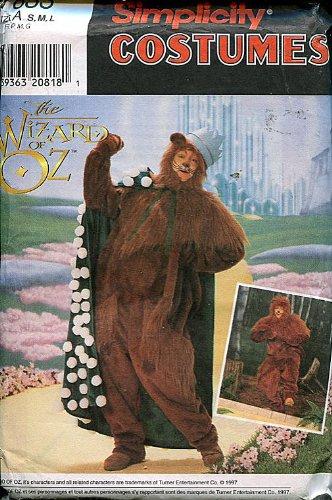Cowardly Lion Costume Pattern (Simplicity Wizard of Oz Adult Costume Sewing Pattern ~ Cowardly Lion ~ S/M/L)