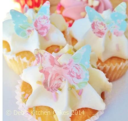 Mothers Day Cake Decorations Rose Edible Wafer Butterflies X 24