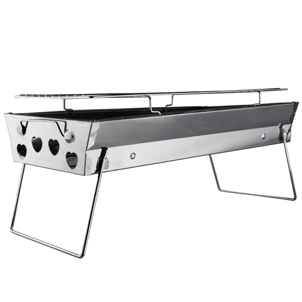 Foldable Barbecue Grill, Portable Thicken Stainless Steel BBQ Stand Charcoal Smoker for Outdoor Cooking Camping Hiking Picnics