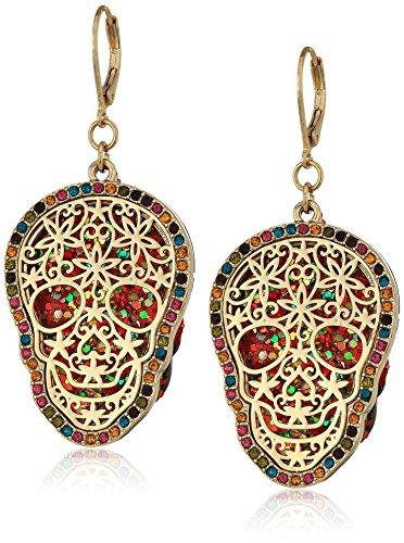 Betsey Johnson Womens Gold Skull Drop Earrings
