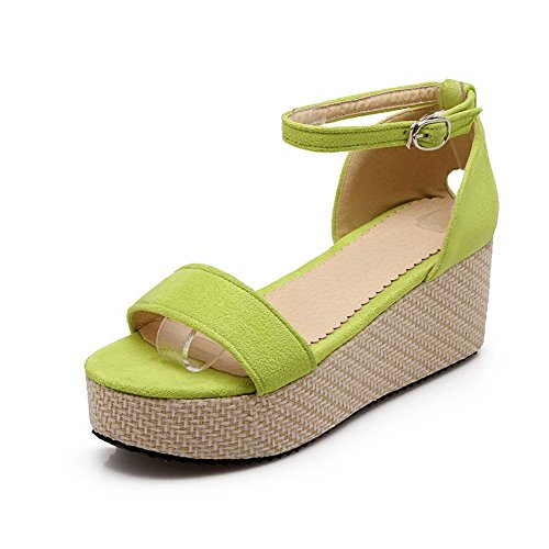 VogueZone009 Women's Open Toe Kitten Heels Frosted Solid Buckle Sandals Green Nzyho
