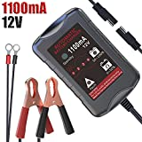 LST 12V 1.1Amp Automatic Battery Charger Maintainer Trickle Charger for Car Motorcycle Lawn Mower RV SLA ATV AGM GEL CELL WET& FLOODED Lead Acid Batteries