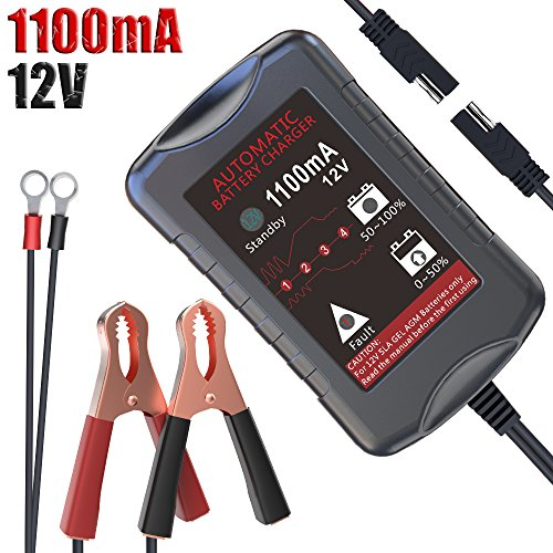 LST 12V 1.1Amp Automatic Battery Charger Maintainer Trickle Charger for Car Motorcycle Lawn Mower RV SLA ATV AGM GEL CELL WET& FLOODED Lead Acid ()