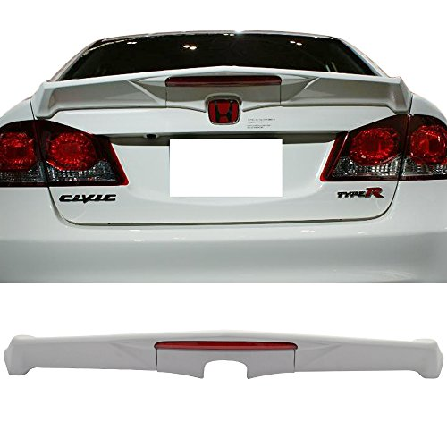 Trunk Spoiler Fits 2006-2011 Honda Civic | Modulo Style FRP Unpainted With Red LED Brake Light Trunk Boot Lip Rear Spoiler Wing Deck Lid By IKON MOTORSPORTS | 2007 2008 (Honda Fit Spoiler)