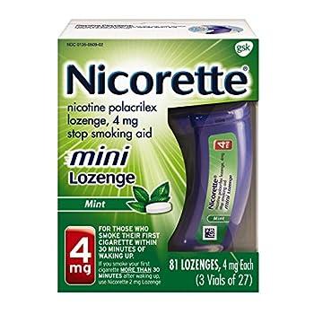 Nicorette mini Nicotine Lozenge, Stop Smoking Aid, 4mg, Mint Flavor, 81 count