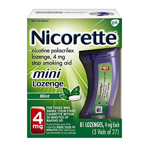 - Mini Nicorette Nicotine Lozenge Stop Smoking Aid, 4 mg, Mint Flavored Smoking Cessation Product, 81 Count
