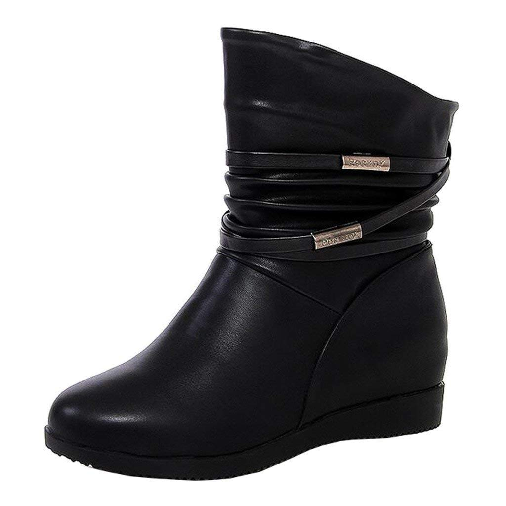 ZHRUI Flache, Flache Martin-Stiefel aus Metall mit Innenfutter  für Damen (Farbe   Innenfutter Schwarz, Größe   2 UK) 83309c