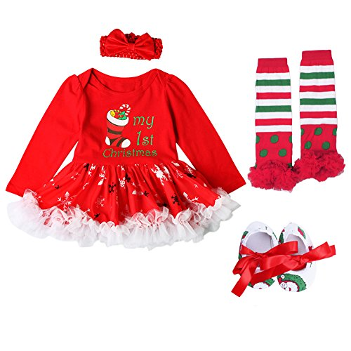 Newborn Baby Girls My First Christmas Outfit Tutu Dress Costumes Long Sleeve Romper Bodysuit + Bow Headband + Shoes + Leg Warmers Socks Xmas Tree Santa Cosplay Party Clothes 4Pcs Set Red 3-6M