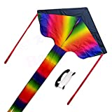 #7: Large Rainbow Kite for Kids and Adults - Easy to Fly and Assemble Colorful Kite with 300ft Line - HAPPYTOY
