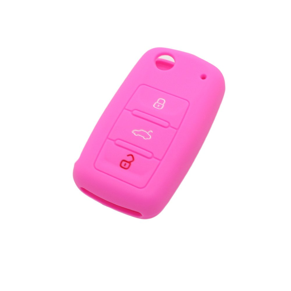 BROVACS Silicone Cover Protector Case Skin Jacket fit for VOLKSWAGEN SEAT SKODA 3 Button Flip Remote Key Fob CV9800 Pink