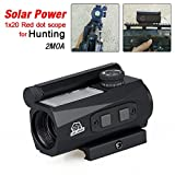 Canis Latran Red Dot Sight with Solar Battery 2 MOA 1x20mm Compact Rifle scope fits 20mm rail for rifle scope for hunting Black