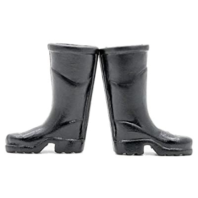 Odoria 1:6 Miniature Black Rain Boots Shoes Dollhouse Fairy Garden Accessories: Toys & Games