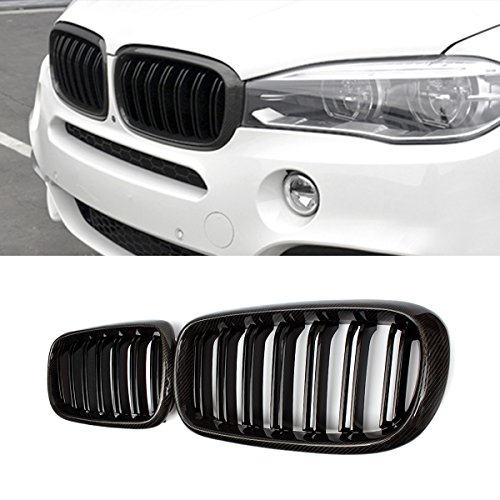 F15 Grille, Front Replacement Kidney Grill for X5 Series F15 X6 Series F16 (Carbon Fiber, Gloss Black)