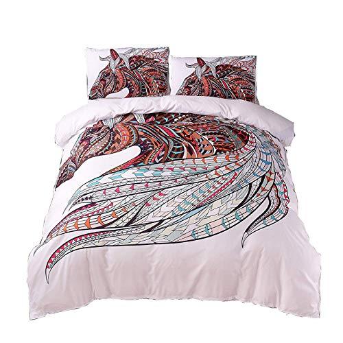 (Meeting Story 3PCS Animals Horse Printed Duvet Cover Set, Microfiber Bedding Set (Queen, Horse))