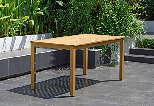 Brampton Tucson Outdoor Dining Eucalyptus Wood Table with Teak Finish | Perfect for Patio and Backyard, Light Brown (Outdoor Furniture Tucson Patio)