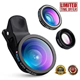 SOZIO 3 in 1 Fisheye Lens & Macro Lens & 0.4X Super Wide Angle Lens, Clip on Cell Phone Lens Camera Lens Kits for iPhone 7, 6s, 6, 5s & Samsung, Android & Most Smartphones.