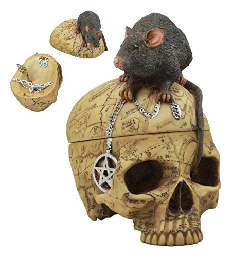 Ebros Paranormal Pentagram Colonial Witch Map Salem Skull With Mouse Jewelry Box Statue 7.25'' Tall Supernatural Occultist Sculpture As Home Decorative Witchcraft Medium Halloween Party Centerpiece by Ebros Gift