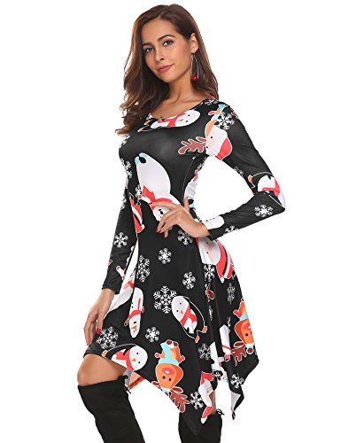 Shirt Asymmetric Fit Swing Floral Women's 1 Tunic Dress Beyove Hem Casual Sleeve Long T wAFq6f