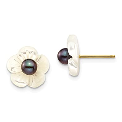 eaf63ed52 Amazon.com: 14k Yellow Gold 4mm Black Freshwater Cultured Pearl 10 Mm Mop  Flower Post Stud Earrings Ball Button Gardening Fine Jewelry Gifts For  Women For ...