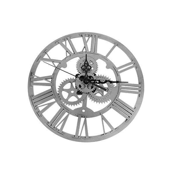 Fenteer 14 inches Classical Metal Wall Clock Roman Numeral Steampunk Home Decorative Hanging Clock 5
