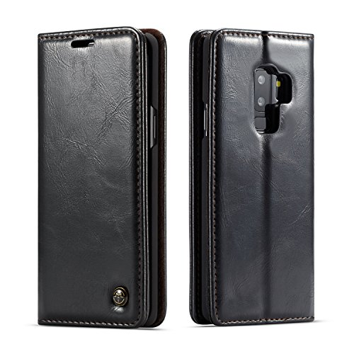 Galaxy S9 Plus Folio Case, XRPow Luxury PU Leather Credit Card Slot Hidden Magnetic Book Stand Slim Flip Wallet Protective Case for Samsung Galaxy S9 Plus (Black)
