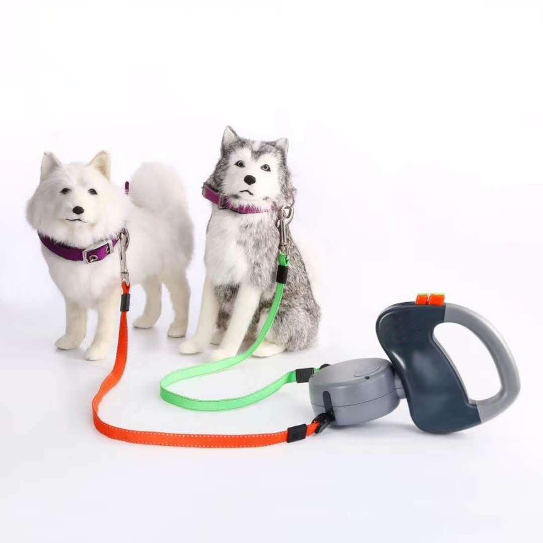 Laisse à double enrouleur pour 2chiens avec sangles de 3m et boutons de freinage/verrouillage individuels - Pour chiens de petite, moyenne et grande taille jusqu'à 22kg par sangle - Anti-emmêlement Benice