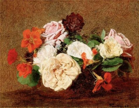 'Roses And Nasturtiums In A Vase,1883 By Henri Fantin-Latour' Oil Painting, 16x21 Inch / 41x52 Cm ,printed On High Quality Polyster Canvas ,this High Quality Art Decorative Canvas Prints Is Perfectly Suitalbe For Bathroom Gallery Art And Home Gallery Art And Gifts