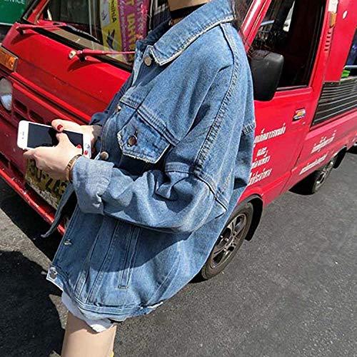 Elegante Di Single Marca Giacca Tasche Giacche Baggy Giovane Giubotto Donna Breasted Mode Bolawoo Outerwear Bavero Autunno Con Giorno Jeans Blu Lunga Manica zx5wAvqnd