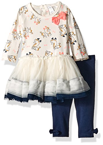 [Petit Lem Girls' Baby Ruffle Dress and Legging Set, Poodle, 12 Months] (Poodle Skirt Set)