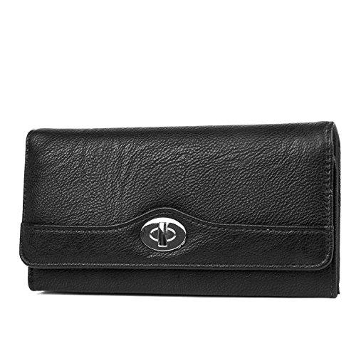 MUNDI Womens RFID Blocking File Master Wallet Clutch Organizer (Black) from Mundi