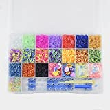 OUMANKE Premium 4400 Rubber Band Bracelet Rainbow Color Loom Bands 22 Beautiful Colors +10 Charms+48 S Clips+1 Loom Band Organizer+6 Small Hook+1 Big Hook