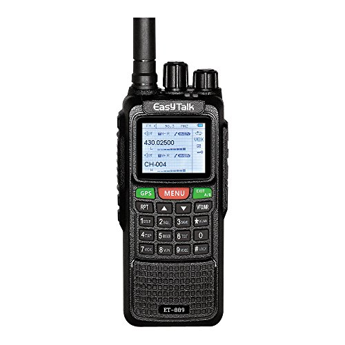 Walkie Talkie Gps - EasyTalk Walkie Talkies Long Range Rechargeable ET-889 10W GPS FRS GMRS Dual Band VHF UHF Amateur Radio with Earpiece + Programming Cable, Black