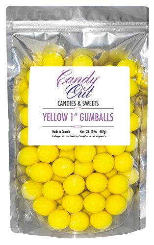 CandyOut Yellow 1 inch Gumballs 2 Pounds in Stand Up Bag]()