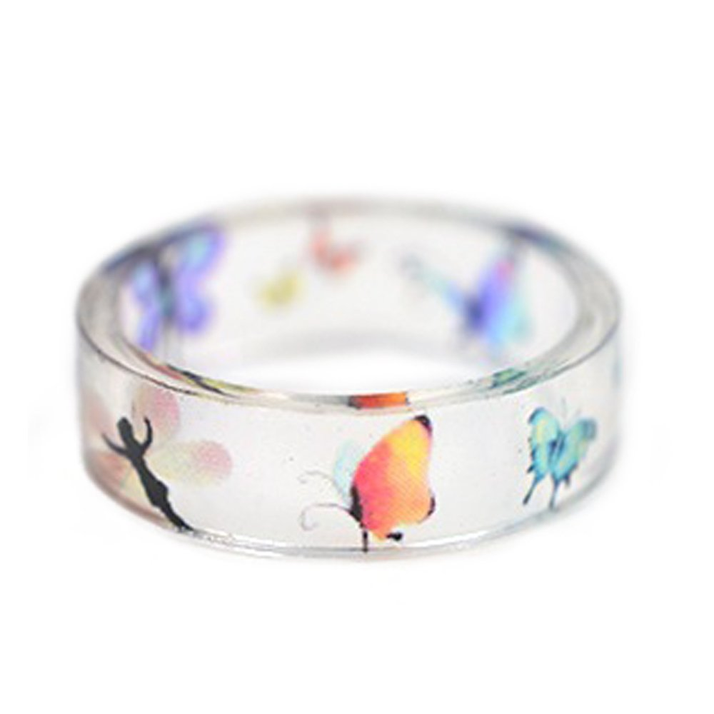 New Arrival Handmade Butterfly Fairy Transparent Resin/Plastic Women/Girl's Charm Ring (17mm/US#6.5)