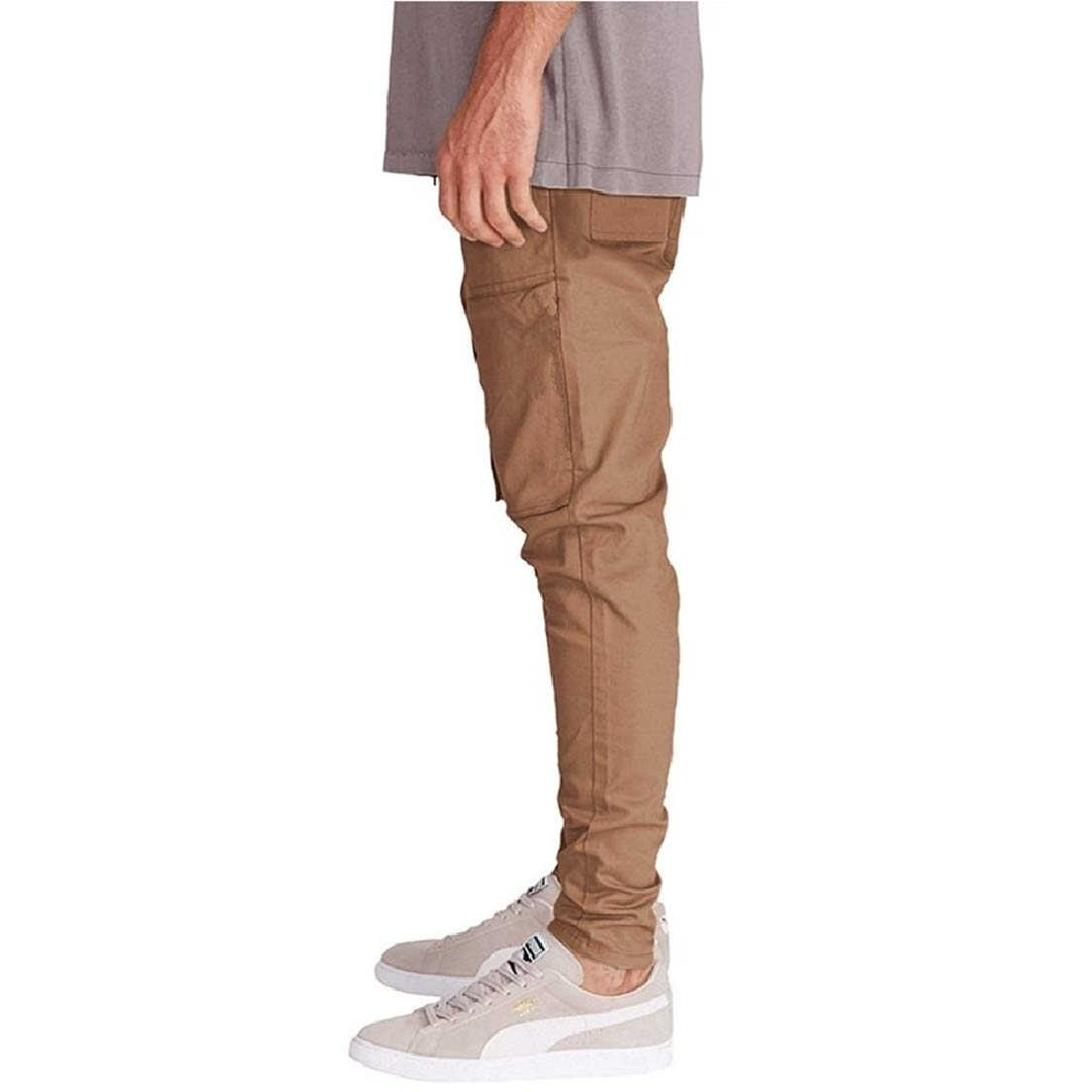 Vska Men Outdoor Splice Plus Size Drawstring Chino Pants Trousers