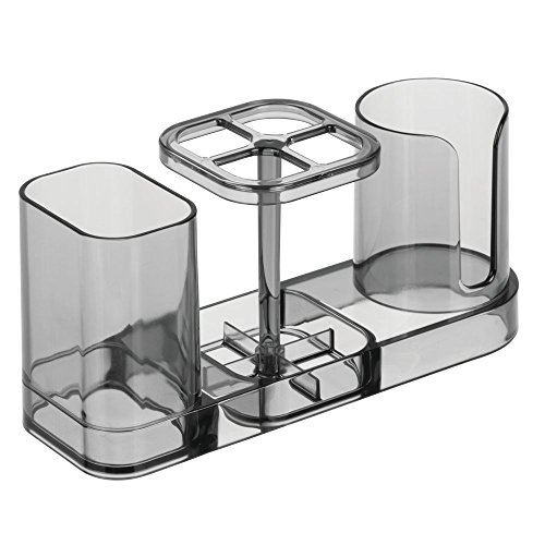 InterDesign Med+ Dental Center Bathroom Toothbrush and Toothpaste Stand/Holder Organizer with Disposable Cups - Smoke by InterDesign