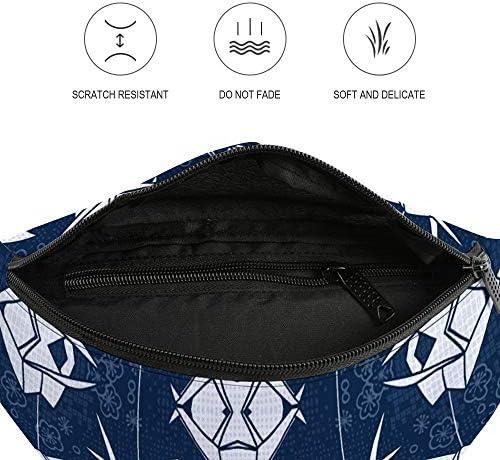 青いモノクロ折り紙クレーン ウエストバッグ ショルダーバッグチェストバッグ ヒップバッグ 多機能 防水 軽量 スポーツアウトドアクロスボディバッグユニセックスピクニック小旅行