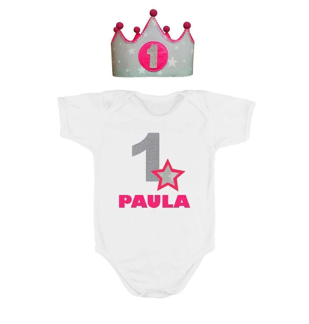 Corona + Body o Camiseta personalizada nombre primer cumpleañ os 1 añ o para niñ as rosa