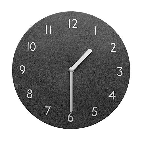 (thehaki Decorative Wall Clock Silent & Non-Ticking Quartz Clock PU Leather Lightweight Round 11