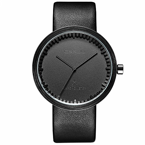Men's Casual Analog Quartz Watches Black Slim Leather Minimalist Business Top Brand Sport Men (Black Dial Super Slim Watch)
