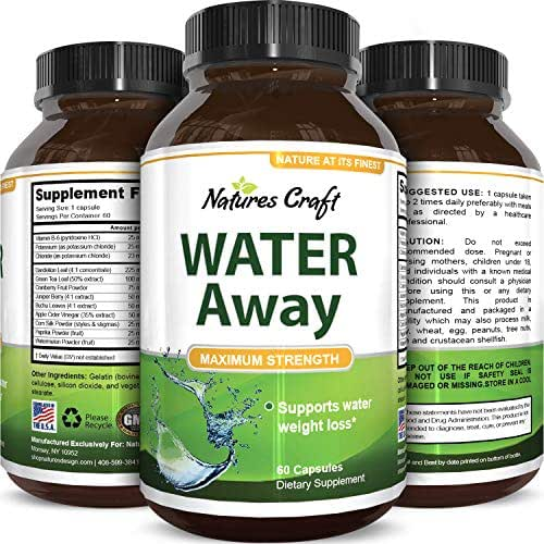 Pure and Potent Water Pills - Reduce Excess Water in the Body! Weight Loss and Appetite Suppressant Benefits - Natural Food Grade Source of Vitamin B6 - Pyridoxine Hydrochloride - Dandelion Root + Green Tea Diuretic for Women & Men- USA Made By Nature Bound